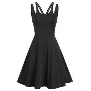 Plain Cut Out Sleeveless Mini A Line Dress