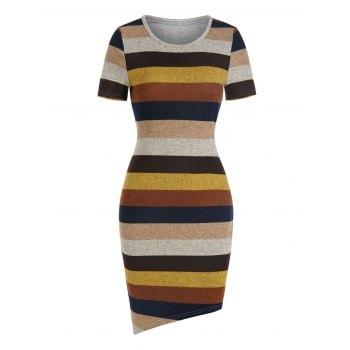 Colorful Striped Print Asymmetric Sheath Dress