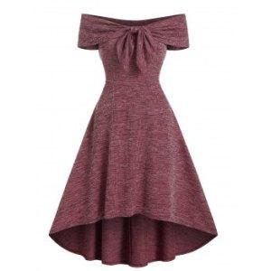 Off Shoulder Bow Textured Dip Hem Dress