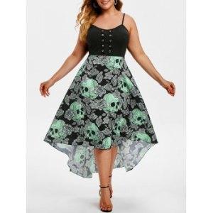 Grommet Floral Skull High Low Halloween Plus Size Dress