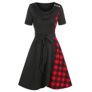 Cowl Neck Plaid Insert High Low Short Sleeve Dress