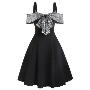 Sequin Panel Open Shoulder Skater Dress