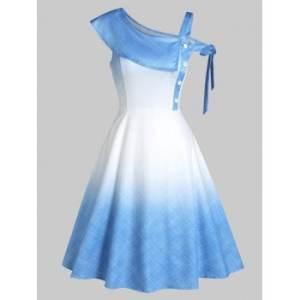 Ombre Color Skew Neck Flare Dress