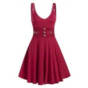 Buckle Button Ruched Waist A Line Dress