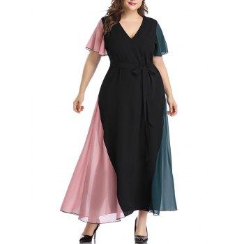 Plus Size Colorblock Chiffon Maxi Dress