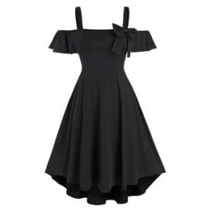 Plus Size Flounce Bowknot Open Shoulder Dress