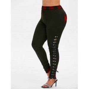Plus Size High Waist Lace Up Plaid Pants