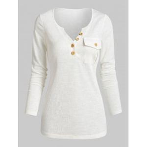 Flap Pocket Knitted Henley T Shirt