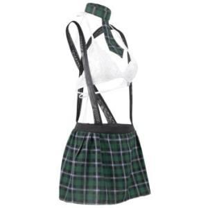 Halter Plaid Lace Suspender Plus Size Schoolgirl Lingerie Costume