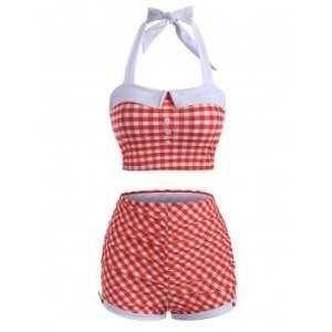 Vintage Halter Gingham Ruched Tankini Swimwear
