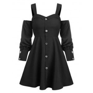 Cold Shoulder Button Through Flare Dress