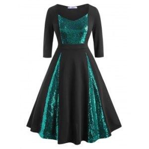 Sequins Panel Scoop Plus Size Prom Dress