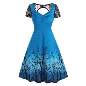 Lace Panel Cutout Branch Print Dress