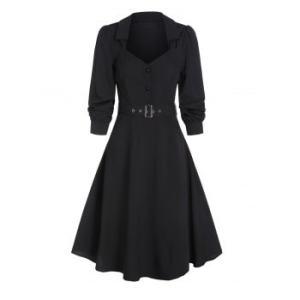 Half Button Belted Vintage Flare Dress