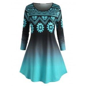 Plus Size Geometry Ombre Color T Shirt