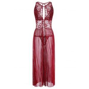 Plus Size Lace Panel Cutout Slit Maxi Lingerie Dress