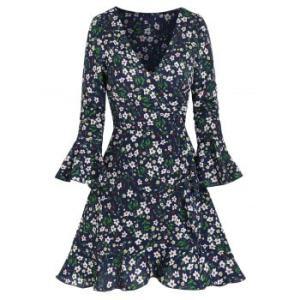 Floral Print Poet Sleeve Flounced Wrap Dress