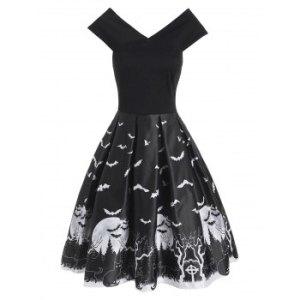 Halloween Tree Bat Moon Cat Print V Neck Dress