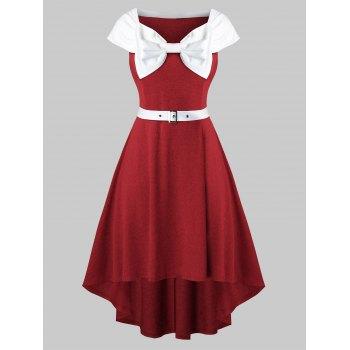 Plus Size Bowknot Collar A Line Dress