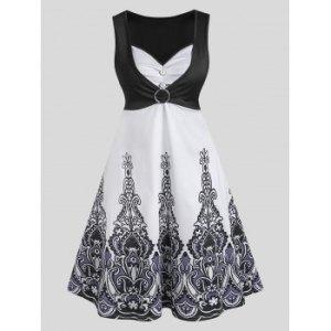 O Ring Ruched Printed Sleeveless Dress