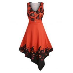 Pumpkin Print Fit And Flare Asymmetric Dress