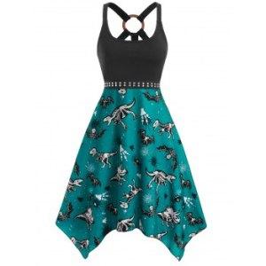 O Ring Dinosaur Bat Skeleton Print Handkerchief Dress