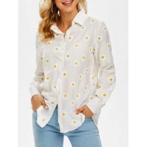 Daisy Print Button Up Shirt