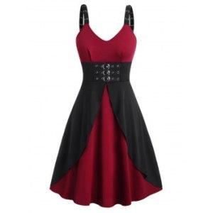 Plus Size Buckles Eyelet Gothic Dress
