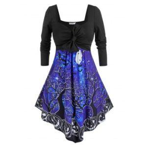 Plus Size Halloween Pumpkin Bat Print Bowknot Long Sleeve Dress