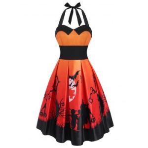 Halloween Pumpkin Bat Print Empire Waist Dress