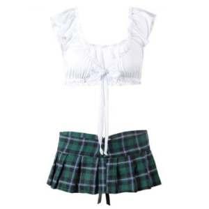 Plus Size Plaid Lace-up Prep School Costume