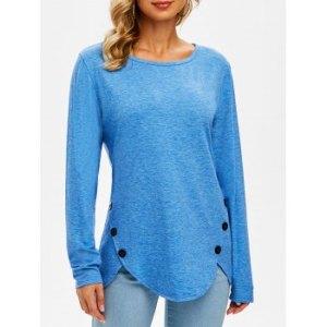 Buttoned Hem Long Sleeve T-shirt