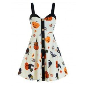 Halloween Pumpkin Print Button Cami A Line Dress