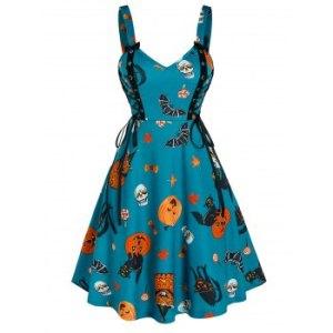 Halloween Pumpkin Print Lace Up Cami A Line Dress