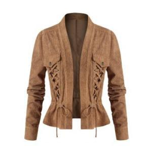 Plus Size Corduroy Lace-up Drawstring Jacket