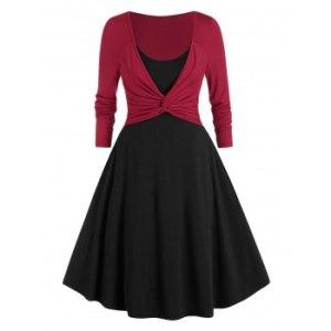 Plus Size Front Twist Twofer Dress