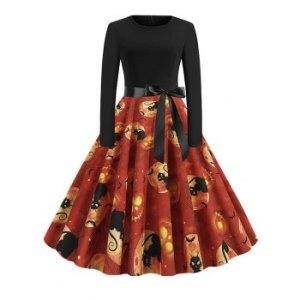 Halloween Pumpkin Belted Long Sleeve Dress