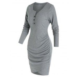 Plain Henley Tulip Hem Mini Sheath Dress
