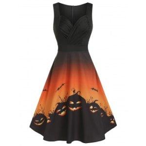 Halloween Pumpkin Print High Waist Sleeveless Mid Calf Dress