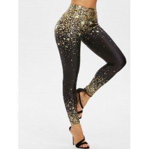 Star Polka Dot Wide Waistband Skinny Leggings
