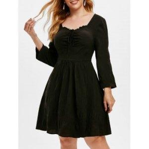 Plus Size Tie Front Ruched A Line Dress