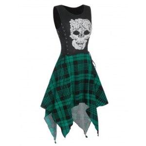 Gothic Skull Plaid Pattern Handkerchief Dress