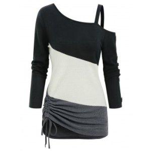 Colorblock Open Shoulder Mock Button Drawstring Hem T Shirt
