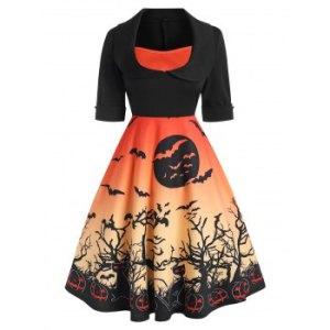 Halloween Cuffed Pumpkin Bat Print Collared Dress