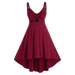 Plus Size Twist Ruched Dip Hem High Rise Dress