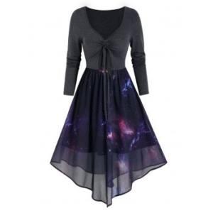 High Waist Starry Print Overlay Mesh Dress