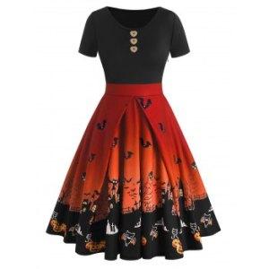 Halloween Buttons Bat Pumpkin Castle Print Dress