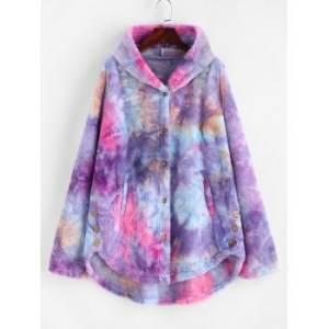 Plus Size Tie Dye Faux Fur Pocket Hooded Coat