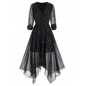 Stars Print Handkerchief Chiffon Dress