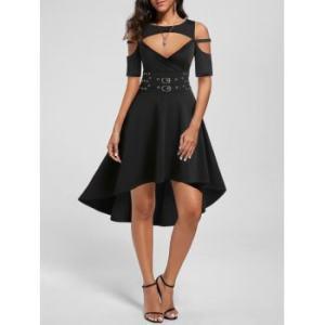 Cold Shoulder High Low Rivet Detail Gothic Dress